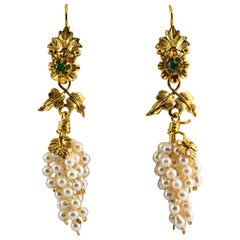 """Pearl 0.12 Carat Emerald Yellow Gold Lever-Back """"Cluster"""" Earrings"""