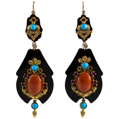 White Diamond Ruby Turquoise Coral Onyx Yellow Gold Lever-Back Earrings