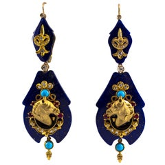 White Diamond Ruby Turquoise Lapis Enamel Yellow Gold Lever-Back Earrings