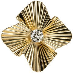 """Stunning """"Retro"""" Period Tiffany & Co. Brooch with GIA Certified Diamond"""