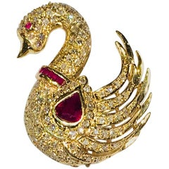 Elegant Pigeon Blood Red Ruby and Diamond Yellow Gold Swan Brooch Pin Pendant