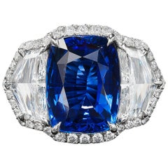Bayco 7.60 Carat Burma No Heat Sapphire Diamond Platinum Ring