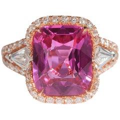 Bayco 5.58 Carat Cushion Pink Sapphire Diamond 18 Karat Rose Gold Ring