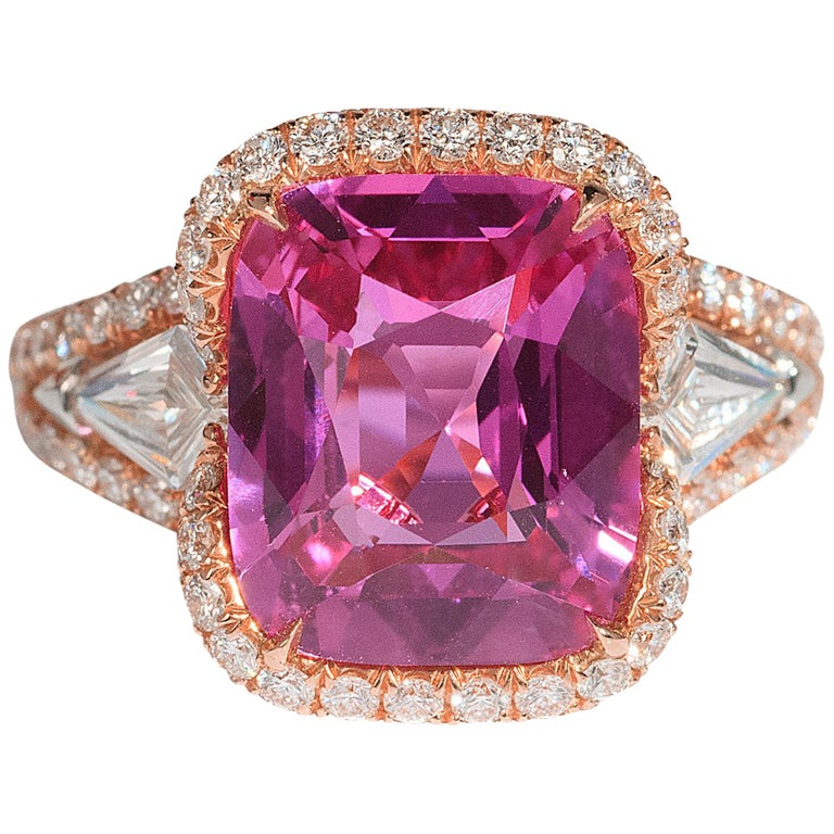 Bayco 5.58 Carat Cushion Pink Sapphire Diamond 18 Karat Rose Gold Ring