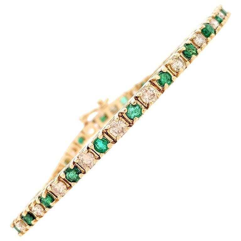 14 Karat Yellow Gold 3.8 Carat Diamond Emerald Tennis Bracelet