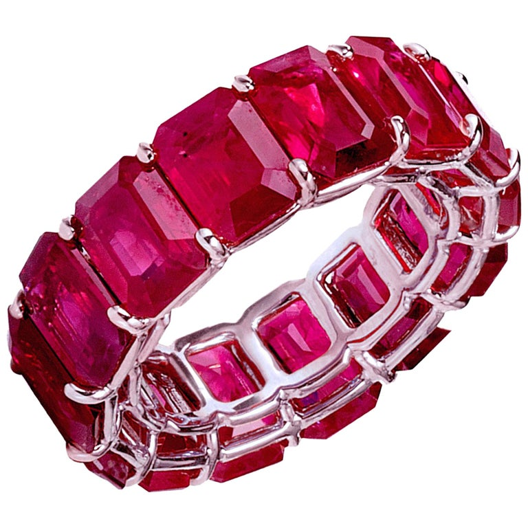 Bayco 14.99 Carat Emerald-Cut Ruby Platinum Eternity Ring