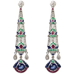 Egyptian Sapphire, Emerald, Ruby, Diamond Long Drop Earrings 18 Karat