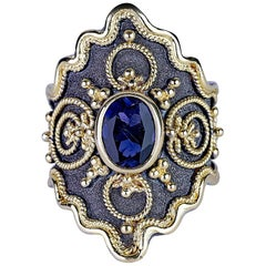 Georgios Collections 18 Karat White and Yellow Gold Byzantine Tanzanite Ring