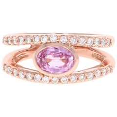 1.48 Carat Pink Sapphire Diamond 14 Karat Rose Gold Ring