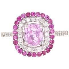 2.32 Carat Pink Sapphire Diamond 18 Karat White Gold Ring