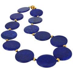 Decadent Jewels Lapis Lazuli Disk Necklace