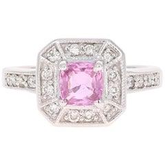 1.36 Carat Pink Sapphire Diamond 14 Karat White Gold Ring