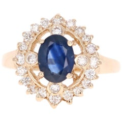 1.87 Carat Sapphire Diamond 14 Karat Yellow Gold Ring