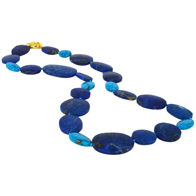 Decadent Jewels Lapis Lazuli Turquoise Gold Necklace