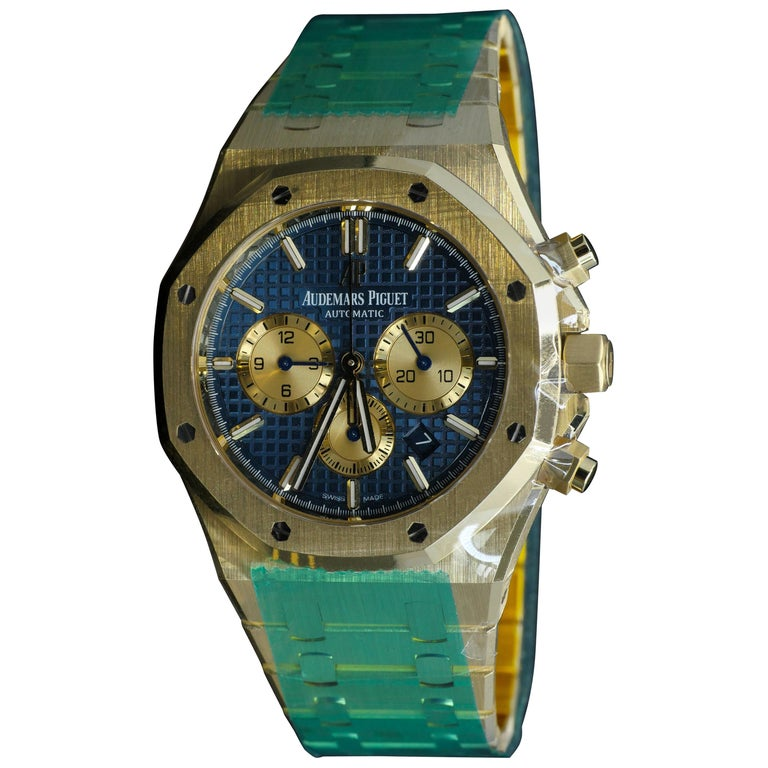 Audemars Piguet Yellow Gold Royal Oak Blue Dial Chronograph Automatic Wristwatch
