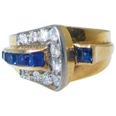 Tiffany & Co. Diamond and Sapphire Art Moderne Ring, circa 1950