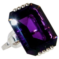 Retro Platinum and Amethyst Ring, circa 1950