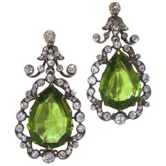 Antique Peridot and Diamond Earrings, circa 1845