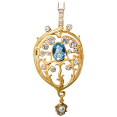 Art Nouveau Aquamarine Diamond Natural Pearl Pendant or Brooch, circa 1900
