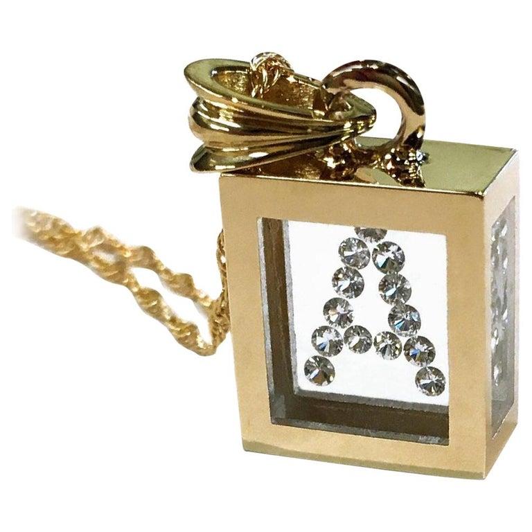 Incogem Floating Diamond Pendant: 14k Yellow Gold (Letter A)