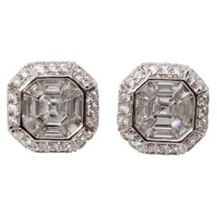18 Karat Gold Asscher Cut Diamond Earrings
