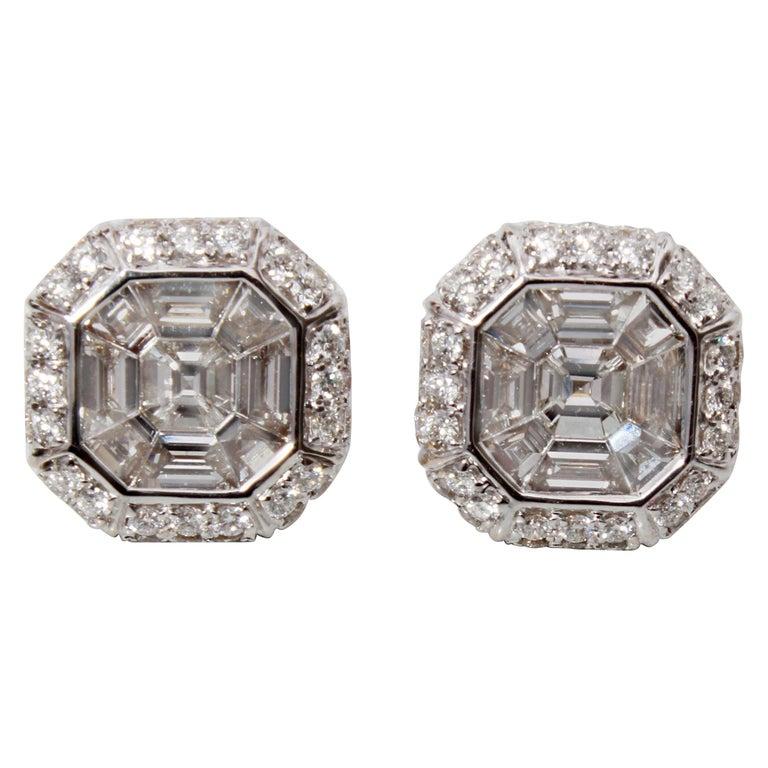 18 Karat Gold Asscher Cut Diamond Earrings