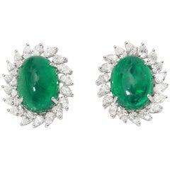18 Karat Gold Zambian Emerald Cabochon Earrings