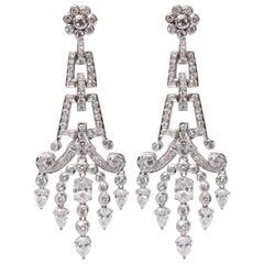 18 Karat Gold White Diamond Earrings