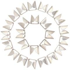 Silver Modernist Bracelet and Necklace by Nanna Ditzel for Georg Jensen # 165