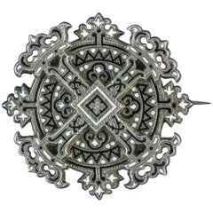 Antique Georgian Enamel Cross Brooch Silver, circa 1800