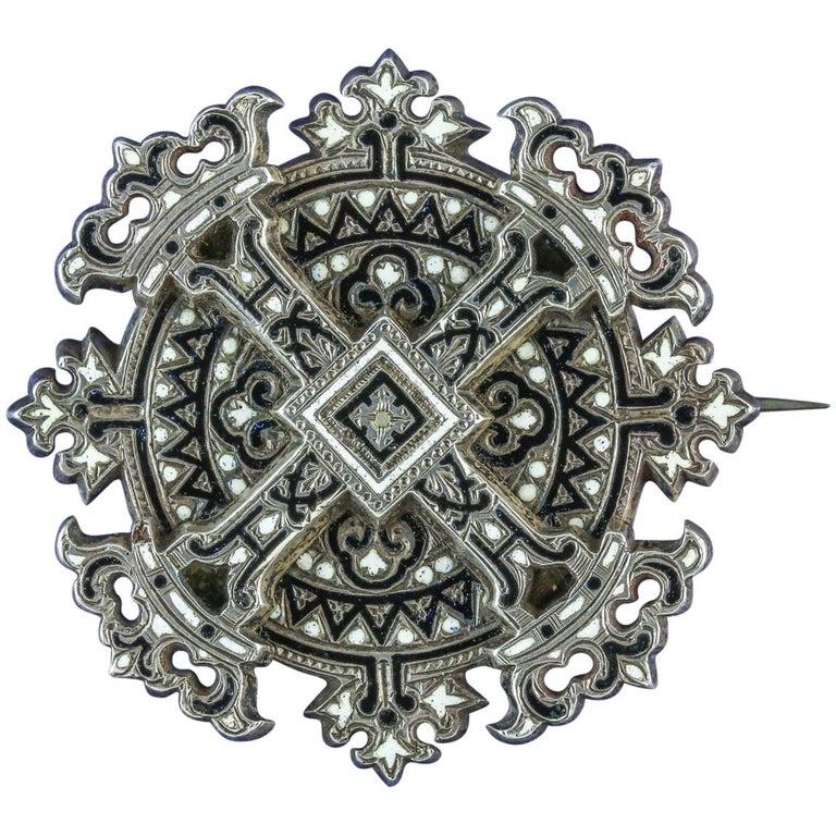 Antique Georgian Enamel Cross Brooch Silver, circa 1800