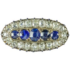 Antique Victorian Sapphire Diamond Brooch, circa 1900