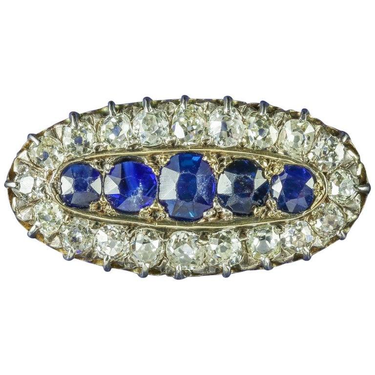 Antique Georgian Sapphire Diamond Brooch, circa 1800