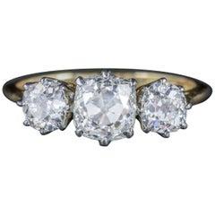 Antique Victorian Diamond Trilogy Ring 18 Carat Gold Platinum, circa 1900