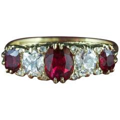 Antique Victorian Ruby Diamond Ring 18 Carat Gold, circa 1900