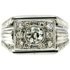 1950s Retro 1.10 Carat Diamond Gold Band Ring
