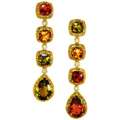 Alex Soldier Tourmaline Diamond Gold Byzantine Drop Earrings One of a Kind