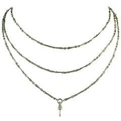 Victorian Antique Silver Long Chain, circa 1880s, Barley Corn Link