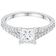 GIA Certified 1.06 Carat Princess Cut Diamond Engagement Ring