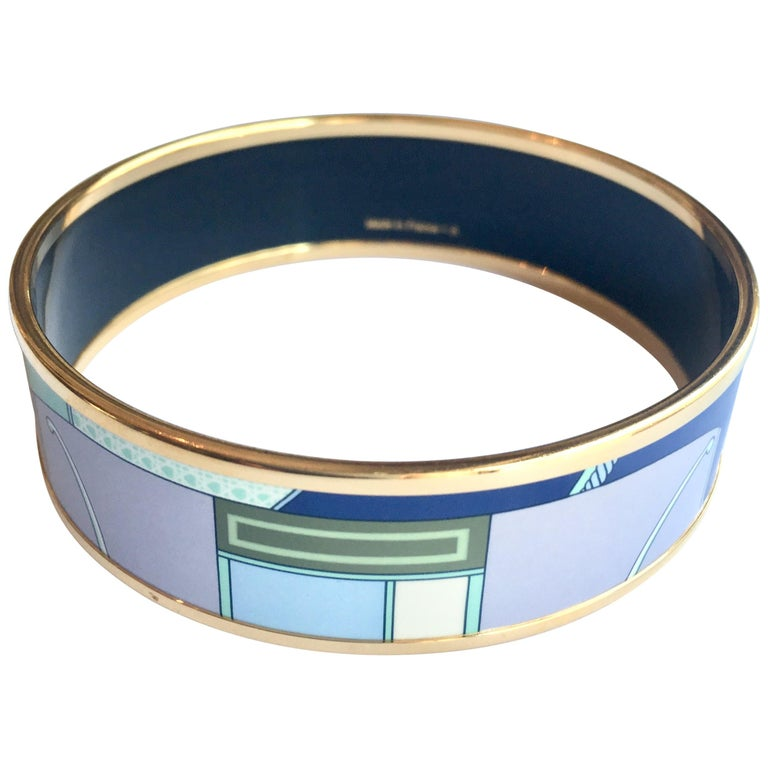 New Hermes Blue Enamel Bangle Bracelet with Dustbag and Box