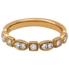 Antique Style 0.31 Carat Diamond Wedding Band in Rose Gold
