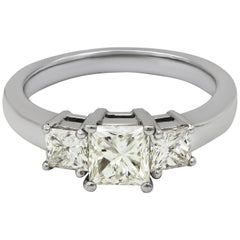 1.02 Carat Princess Cut Diamond Three-Stone Engagement Ring