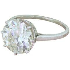 Art Deco 4.45 Carat Old European Cut Diamond Engagement Ring, circa 1940
