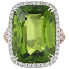 27.43 Carat Certified Peridot and Diamond Ring
