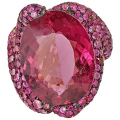 12.25 Carat Rubellite Tourmaline and Pave Sapphire Ring