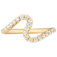 Modern 18K Yellow Gold and .35 Carat Diamond Stacking Brushstroke Wave Band Ring
