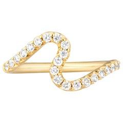 Carelle 18 Karat Gold and .35 Carat Diamond Stacking Brushstroke Wave Band Ring