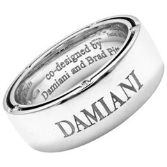 Damiani Brad Pitt Diamond Wide White Gold Band Ring