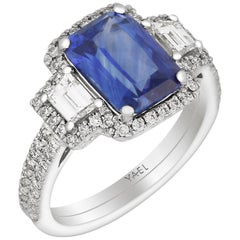 GIA Certified Sapphire Diamond and Platinum Ring
