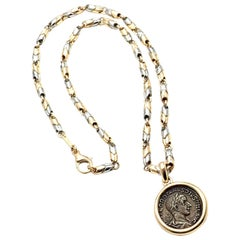 Bulgari Ancient Coin Pendant Yellow Gold and White Gold Link Necklace